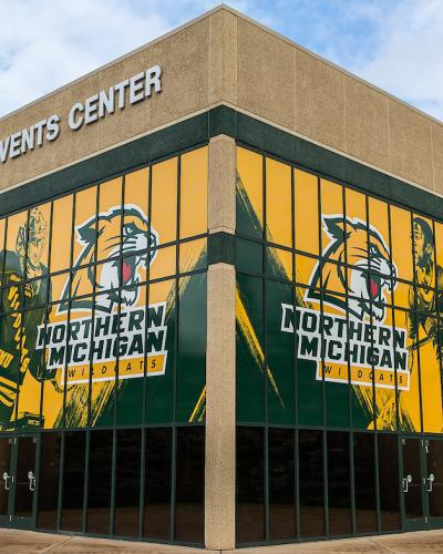 Berry Events Center with athletic graphics on the windows